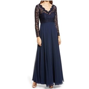 Dessy Collection Lace & Chiffon A-Line Gown 4 NWOT